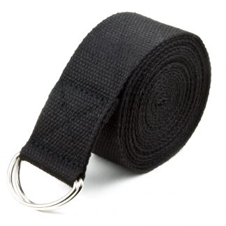 6697 324x324 - Black 8' Cotton Yoga Strap with Metal D-Ring