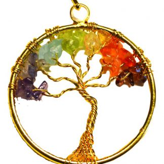 7 Chakra Tree of Life pendant gold